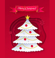 cut paper of christmas trree vector image vector image
