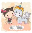 cute cartoon girl and unicorn vector image vector image