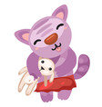 cute kitty holds toy rabbit isolated on white vector image