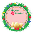 easter background frame with embroidered napkin vector image