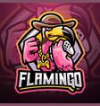 flamingo games esport mascot logo design vector image