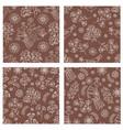 folk brown set holiday seamless pattern set vector image vector image