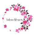 frame from sakura flowers on a white background vector image
