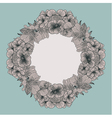 Frame made of vintage flowers on teal background vector image vector image