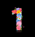 Fun number of fancy flowers on black background 1 vector image vector image