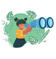 girls school students looking into binoculars vector image vector image