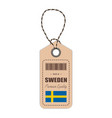 hang tag made in sweden with flag icon isolated on vector image vector image