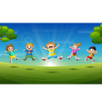 happy children in the morning vector image vector image