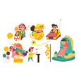 happy kids enjoying amusement park attaractions vector image vector image