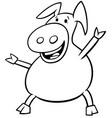 happy pig animal cartoon character color book vector image vector image