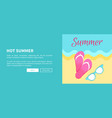 hot summer poster with slide sandals flip-flops vector image