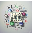 Industry collage with icons background vector image vector image