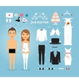 just married paper dolls with set wedding stuff vector image