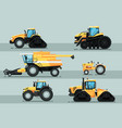 modern agricultural vehicle isolated set vector image vector image