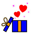 opened gift box with flying hearts vector image