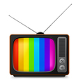 realistic vintage tv with color frame vector image