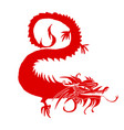 red paper cut out of a dragon china vector image vector image