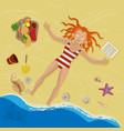 redhead woman resting on a beach vector image