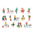 shopping cartoon people man woman and families vector image vector image