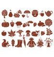 silhouette autumn symbols monochrome icons set vector image