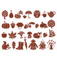 silhouette of autumn symbols monochrome icons set vector image vector image