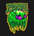 skull zombie melt cartoon vector image vector image
