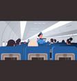 stewardess explaining passengers how to use seat vector image vector image