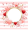 striped background for valentines day with hearts vector image vector image