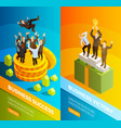 successful business people celebration isometric vector image vector image