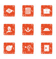 terra icons set grunge style vector image vector image