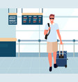tourist with baggage in departure lounge vector image vector image