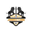 two lion shield logo vector image vector image