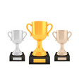 winner awards set gold silver bronze trophy cups vector image vector image