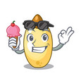 with ice cream character brown cedar nut fruit on vector image vector image