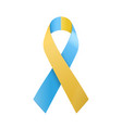 world down syndrome day blue and yellow ribbon vector image vector image