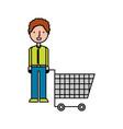 Young man pushing trolley shopping customer vector image