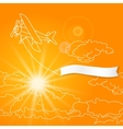Airplane with blank banner flying in the sunny vector image