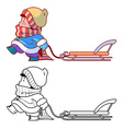 Kid walking with a sled Winter holiday vector image