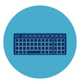computer keyboard icon web button on round blue vector image