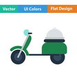 Flat design icon of Delivering motorcycle vector image