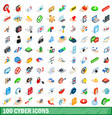 100 cyber icons set isometric 3d style vector image vector image