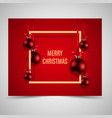 abstract golden frame with red christmas balls vector image
