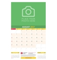 August 2017 Wall Monthly Calendar for 2017 Year vector image vector image