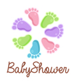 Baby Shower Feet Emblem vector image vector image