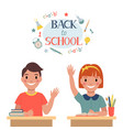 back to school children are sitting at a desk vector image