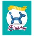 balloon puppy ribbon happy birthday card green vector image