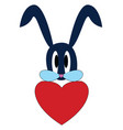 blue rabbit wiith a big red heart on white vector image