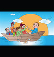 business team on boat vector image