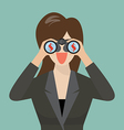 Business woman use binoculars looking for money vector image vector image
