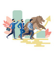 businessmen and bear run competition vector image vector image